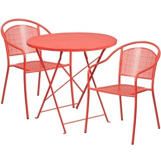Westbury 3pcs Round 30'' Coral Steel Folding Table w/2 Round Back Chairs