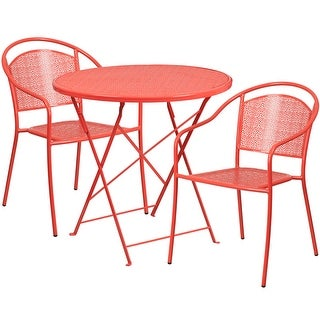 Westbury 3pcs Round 30u0027u0027 Coral Steel Folding Table W/2 Round Back Chairs