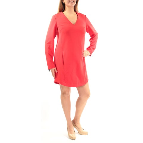 RACHEL ROY Womens Red Pocketed Long Sleeve V Neck Above The Knee Shift Wear To Work Dress Size: 2