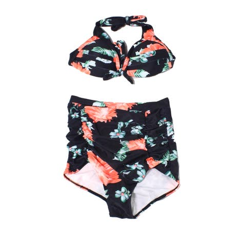 Cocoship Black Womens Medium M Floral High-Waist Bikini Swimwear