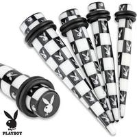 Printed Black/White Playboy Bunny Checkered Pattern Acrylic Taper with O-Rings (Sold Individually)