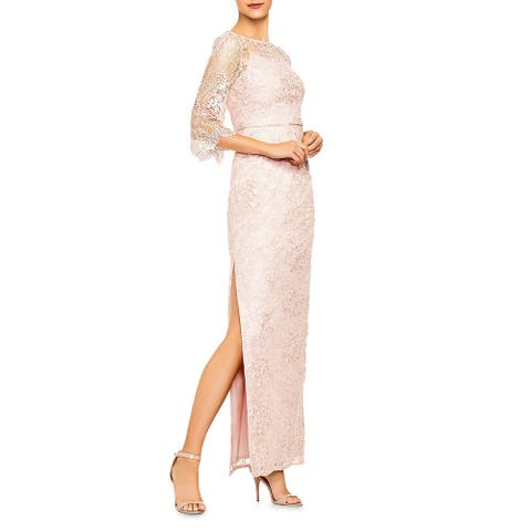 Aidan Mattox Womens Formal Dress Lace Overlay Side Slit - Blush