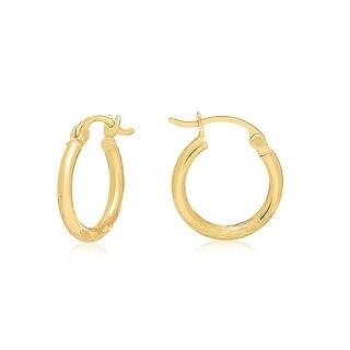 "Mcs Jewelry Inc 14 KARAT YELLOW GOLD HOOP EARRINGS WITH DESIGN (0.6"" DIAMETER)"