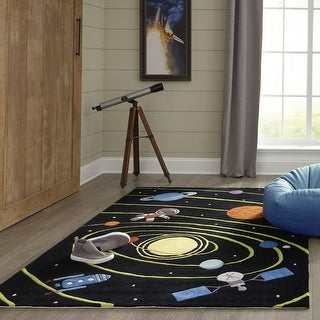 Momeni Lil Mo Whimsy Solar Black Hand-Tufted and Hand-Carved Rug (5' X 5' Round) - 5' x 5' Round