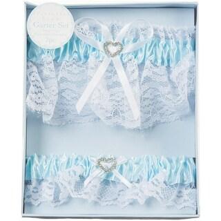 Lace Garter Set W/Rhinestone Heart 2/Pkg-Blue