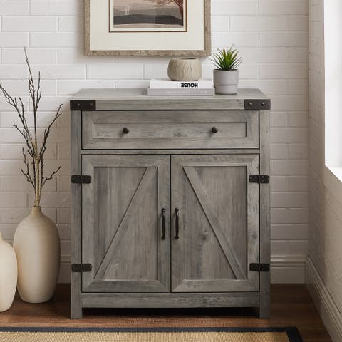 The Gray Barn 30-inch Rustic Barn Door Accent Cabinet
