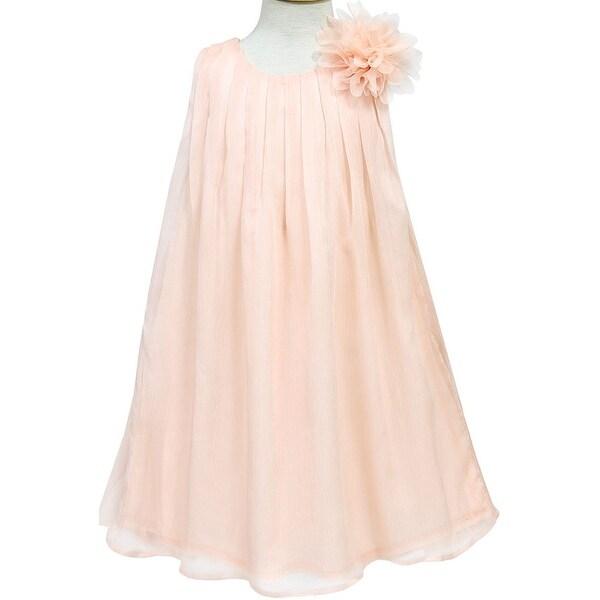 Flower Girl Dress Chiffon Pleaded with Flower Coral CA CJ104