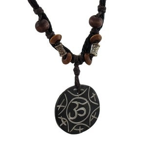 Hand Etched Om Symbol Coconut Shell Pendant & Necklace - Black