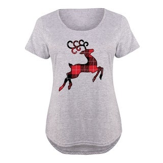 Reindeer Buffalo Plaid -Womens Plus Size Scoop Neck Tee Shirt