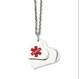 Stainless Steel Double Heart Medical Pendant 18in Necklace (2 mm) - 18 in