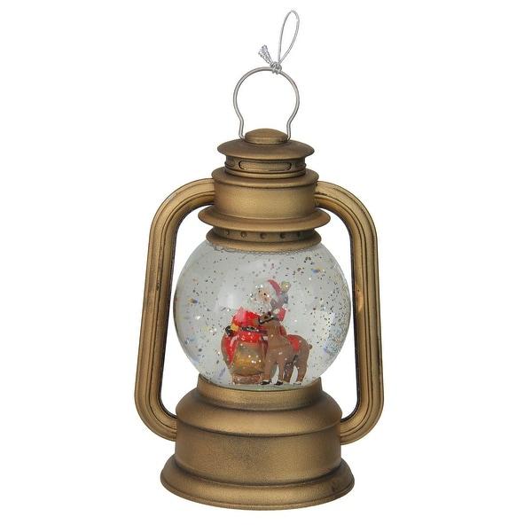 "8"" LED Lighted Santa and Sleigh Gold Swirling Christmas Lantern Glitterdome"
