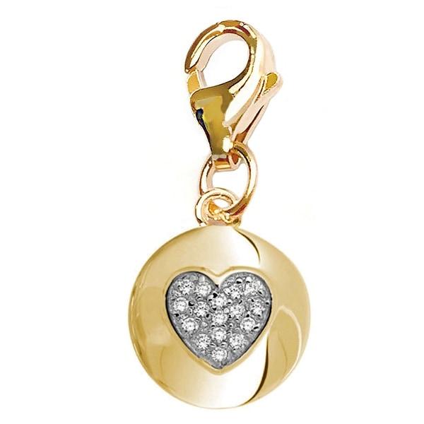 Julieta Jewelry CZ Heart Disc Gold Sterling Silver Charm