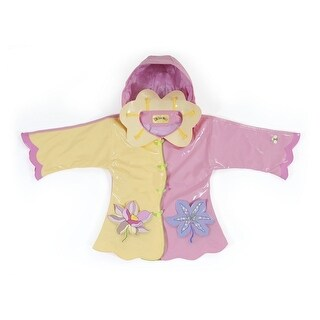 Kidorable Little Girls Yellow Lotus Flower Pockets Hooded Rain Coat 2T-6X