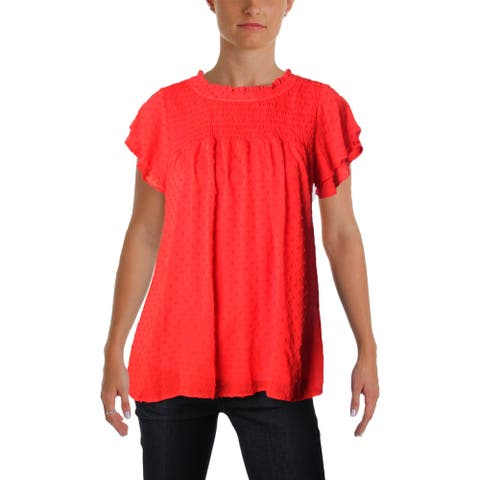 Aqua Womens Blouse Swiss Dot Short Sleeves
