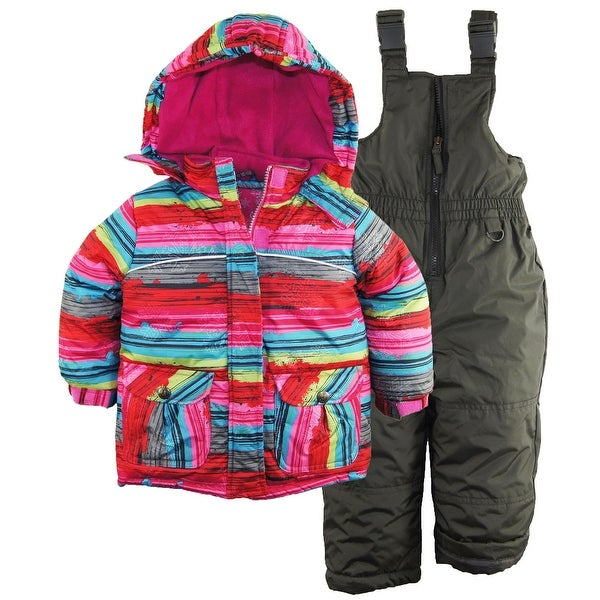 74503b5b3 Shop Rugged Bear Toddler Girls Snowflake Stripes Snowboard Ski Jacket  Snowsuit, 2T - Free Shipping On Orders Over $45 - Overstock - 23035576