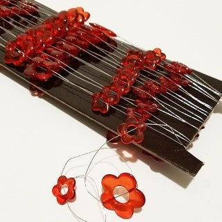 Decorative Strand of Clear Red Acrylic Flowers on Wire 11 Yards