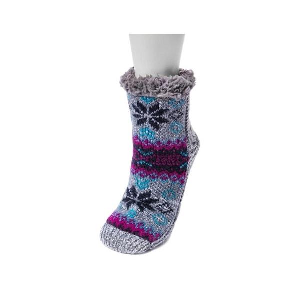 Muk Luks Socks Womens Pieced Cabin Knit Cozy Non Skid