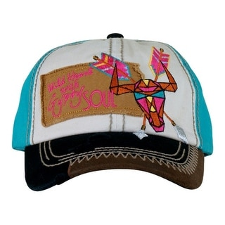 Catchfly Western Hat Womens Embroidered Skull Cap White Turq 761HBBR