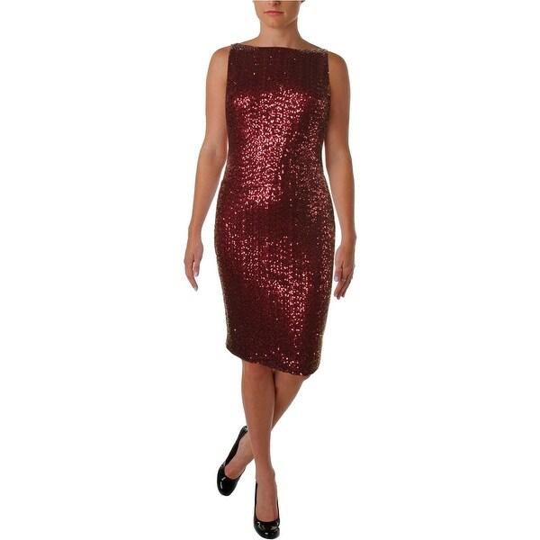 Lauren Ralph Lauren Womens Petites Adalynn Cocktail Dress Sequined Sleeveless