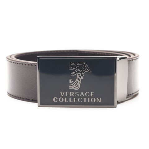 Versace Collection Men's Medusa Stainless Steel Buckle Leather Belt Brown