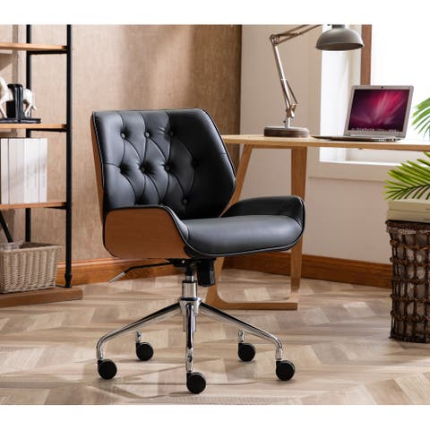 WOVENBYRD Adjustable Executive Swivel Office Chair with Button Tufting