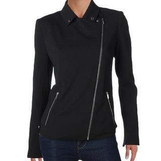 Calvin Klein NEW Black Womens Size 2 Asymmetrical Zip Knit Moto Jacket