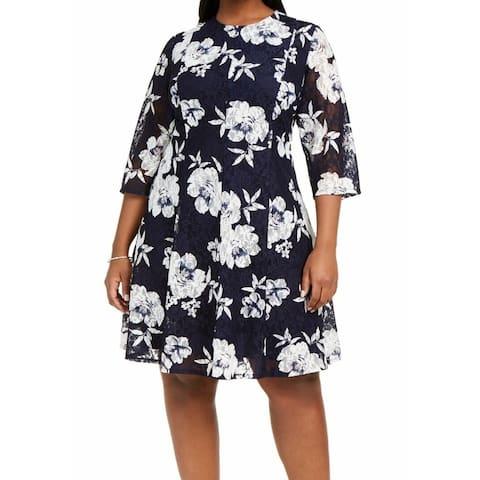 Jessica Howard Women's Dress Blue Size 24W Plus A-Line Lace Floral