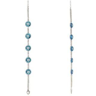 Turquoise Glass Evil Eye Tennis Bracelet