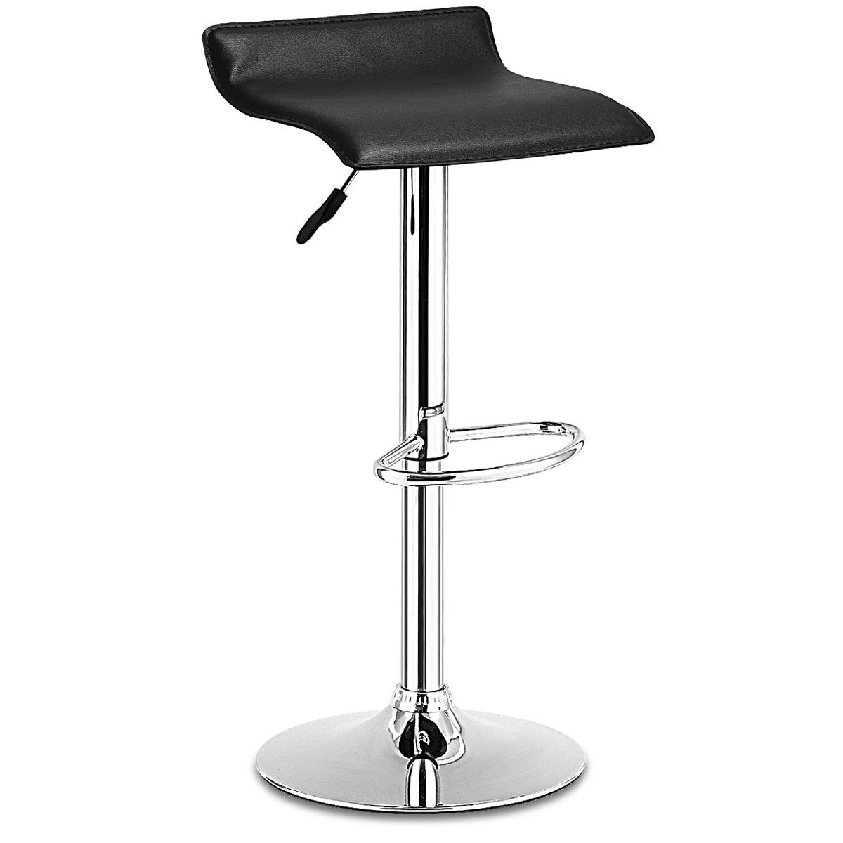 Incredible Costway 1 Pc Swivel Bar Stool Adjustable Modern Leather Dinning Counter Chair Black Lamtechconsult Wood Chair Design Ideas Lamtechconsultcom