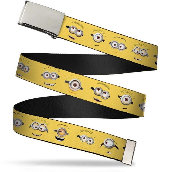 Blank Chrome Buckle Minion Expressions Yellow Webbing Web Belt