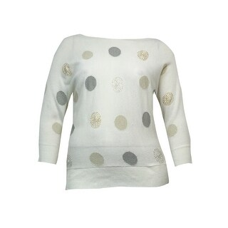 Charter Club Women's Metallic Dot Dolman Sweater - vintage cream combo