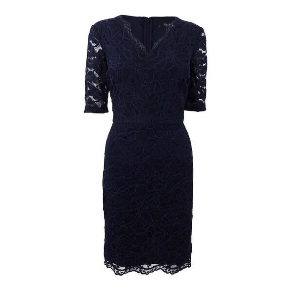 6ed190ddabb19 Shop Ellen Tracy Women's Short-Sleeve Lace Sheath Dress - Navy - Free  Shipping On Orders Over $45 - Overstock - 23553527