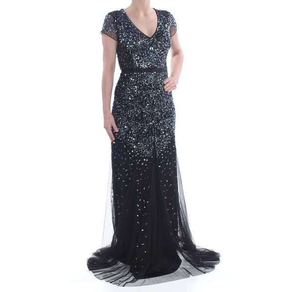 6f627ea9e839f4 Shop ADRIANNA PAPELL Womens Black Embellished Mesh Cap Sleeve V Neck  Full-Length Mermaid Evening Dress Size: 4 - Free Shipping Today - Overstock  - 28254037
