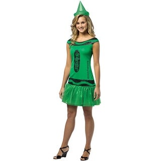 Rasta Imposta Crayola Glitz and Glitter Illuminating Emerald Dress Adult Costume - Solid - 4-10