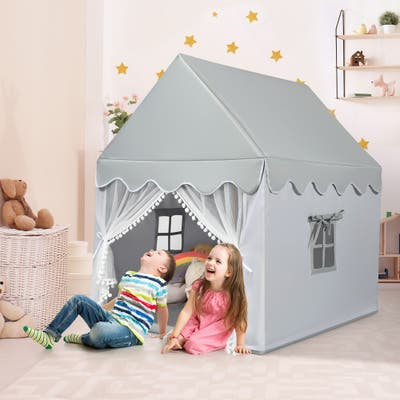 Foldable Children Play Fairy Tents w/ Large Space & Washable Mat