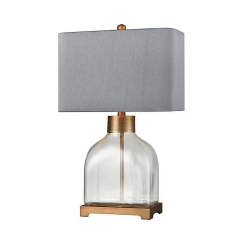 Clear Glass Brushed Antique Gold Table Lamp Made Of Glass And Metal With A Grey Shade And A 3-Way