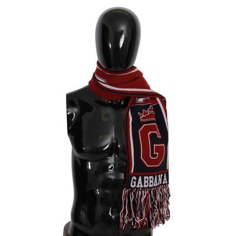 Dolce & Gabbana Red Blue DG Crown Fringe Wrap Shawl Men's Scarf - one-size