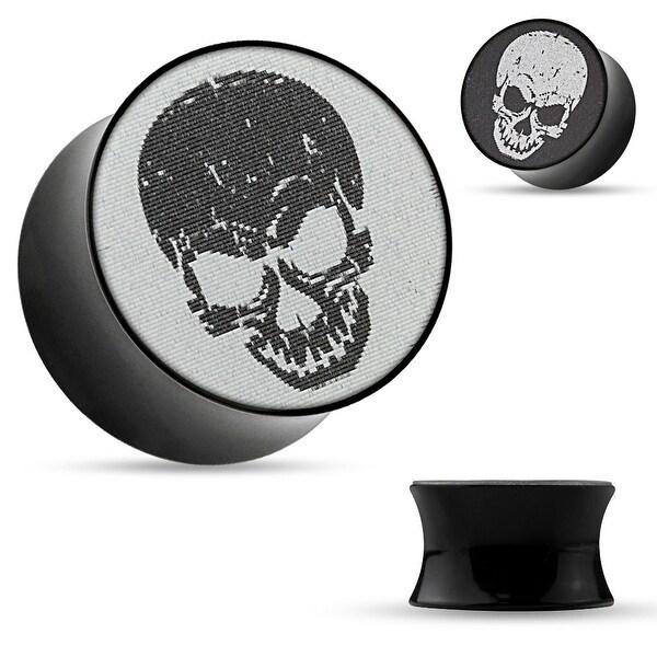 3-D Holographic Skull Black Acrylic Saddle Plug (Sold Individually)