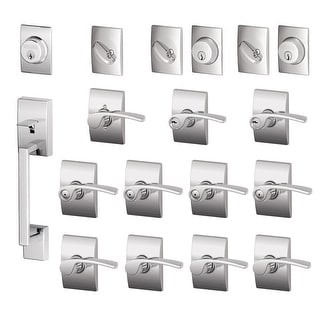 Schlage F600-CEN-MER-LH  Century Complete House Door Hardware Package with Merano Interior Levers and Left Handed Exterior Front