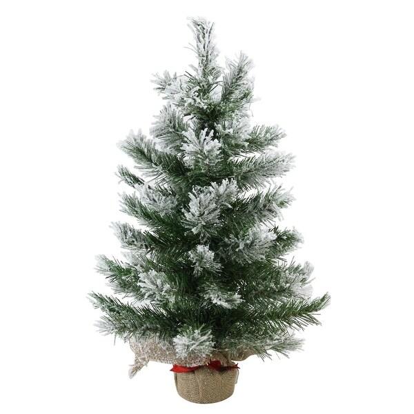 "22"" Flocked Pine Artificial Christmas Tree in Burlap Base - Unlit - WHITE"