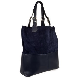 HS5254 MA ZOE Leather Shopper/Tote Bag - Navy Blue - 14.5-15-6