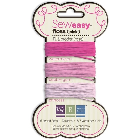 Sew Easy Solid 6-Strand Floss 8.7yd 3/Pkg-Pink