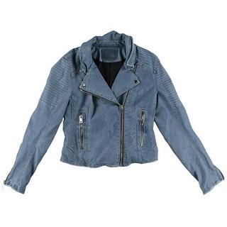 [BLANKNYC] Womens Motorcycle Jacket Faux Leather Long Sleeves