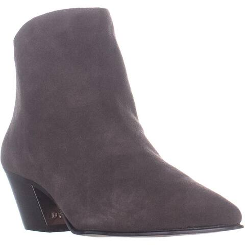 DKNY Bason Back Zip Ankle Boots, Brown Suede - 9 US / 40 EU