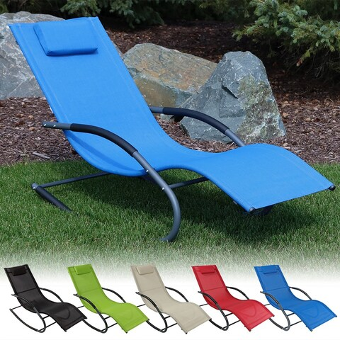 Sunnydaze Rocking Wave Lounger w/ Pillow - Multiple Options