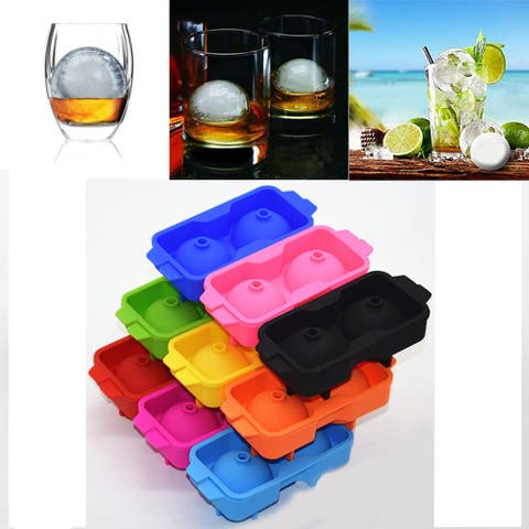 Ice Balls Maker Round Sphere Tray Mold Cube Whiskey Ball Cocktails Silicone - sky blue