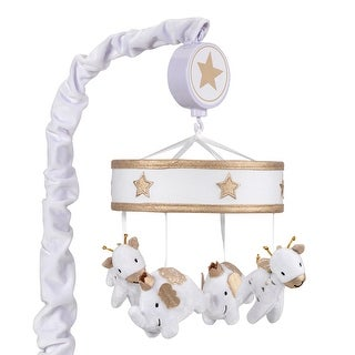 Lambs & Ivy Signature Jamboree White/Gold Elephant & Giraffe Musical Baby Crib Mobile
