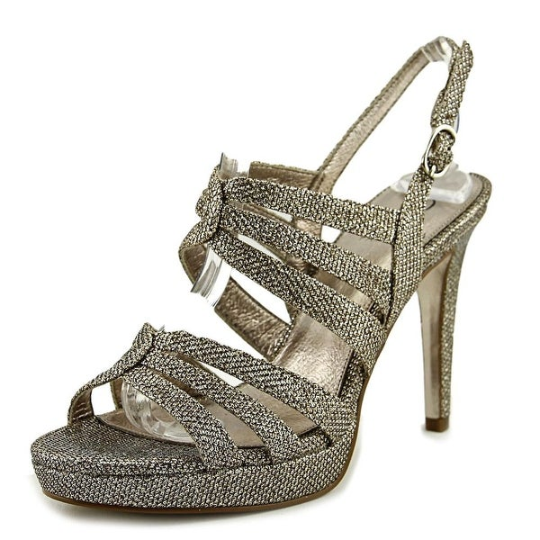 Adrianna Papell Anita Women Open Toe Synthetic Silver Platform Heel