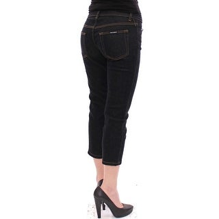 Dolce & Gabbana Black Cotton Cropped Slim Fit Jeans Pants - it40-s