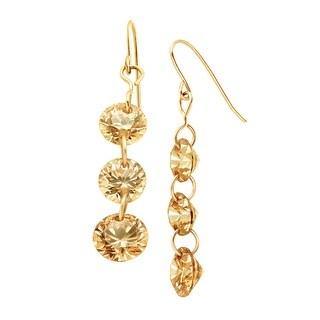 Champagne Cubic Zirconia Drop Earrings in 14K Gold